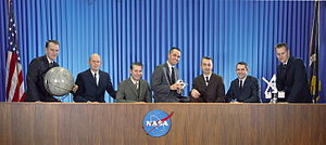 NASA Astronaut Group 7 - Group 7 astronauts from left to right: Bobko, Fullerton, Hartsfield, Crippen, Peterson, Truly and Overmyer