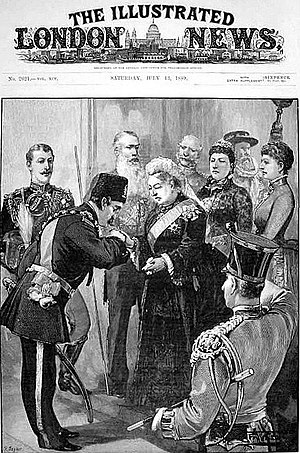 Iran–United Kingdom relations - Nasereddin Shah of Persia is received by Queen Victoria at Windsor Castle in July 1859.