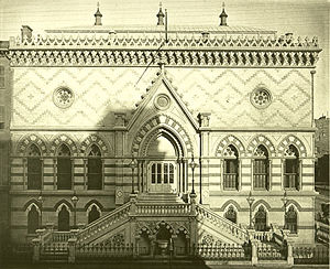 Wedgwood Institute - National Academy of Design, New York (1863–65). Built in the same decade as the Wedgwood Institute, it was another example of a Gothic Revival building modelled on the Doge's Palace