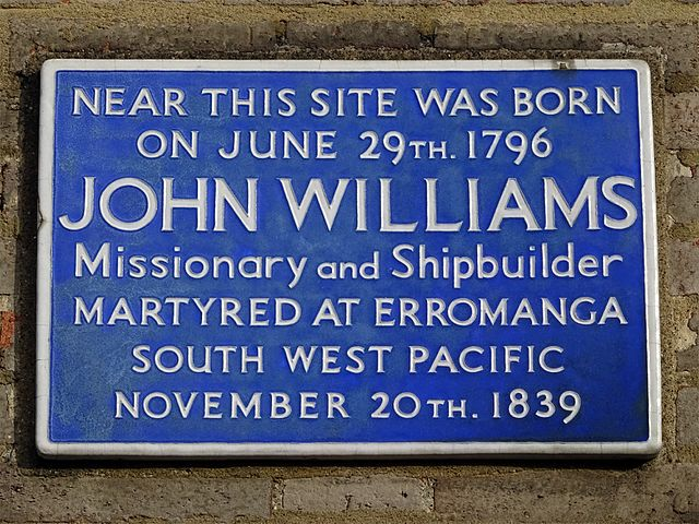 Photo of John Williams blue plaque