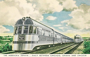 Nebraska Zephyr - Postcard depiction of the Nebraska Zephyr in the 1950s.