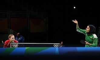 Table tennis at the 2016 Summer Olympics – Women's singles - Iran's Neda Shahsavari and Belarus' Aleksandra Privalova