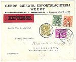 Netherlands 1932-07-28 express cover NVPH 171, 177, 178, 192.jpg