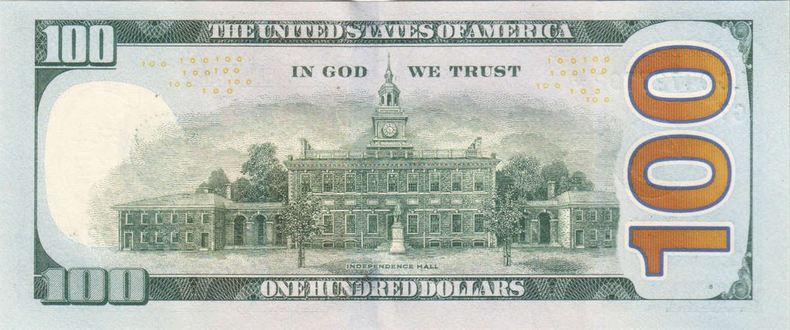 "United States one hundred-dollar bill, reverse, series 2009 with ""  IN GOD WE TRUST  "" motto"