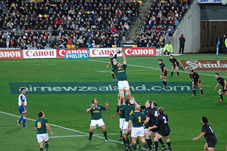Rugby union - South African Victor Matfield takes a line-out against New Zealand in 2006.