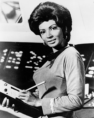 Uhura - Nichelle Nichols as Uhura on the set of Star Trek: The Original Series