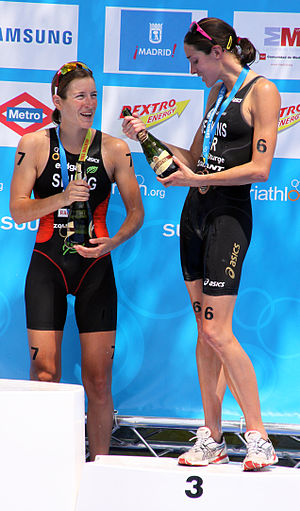 Nicola Spirig - Nicola Spirig and Helen Jenkins at the World Championship Series triathlon in Madrid, 2010.