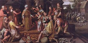 Nicolas van Houy - Joseph distributing the Harvest while Benjamin is presented