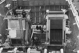 North Carolina-class battleship - North Carolinas No. 2 machinery space under construction, seen from the port side of the ship on 16 January 1939; the No. 4 boiler has just been installed
