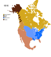 Map showing Non-Native Nations Claim over NAFTA countries c. 1816