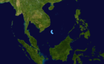 November 1986 China tropical depression track.png