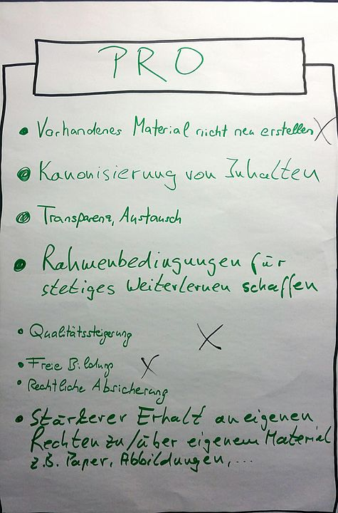 FlipChart mit Argumenten für Open Educational Resources