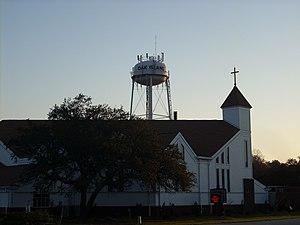 Oak Island, North Carolina - Ocean View United Methodist and the Oak Island Water Tower