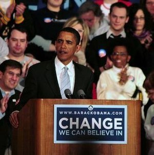 Pennsylvania Democratic primary, 2008 - Obama speaking at a Rally in Pittsburgh to kick off his statewide bus tour.