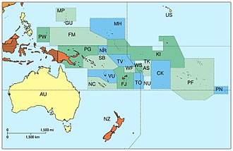 Country code - Map of Oceania with country codes.