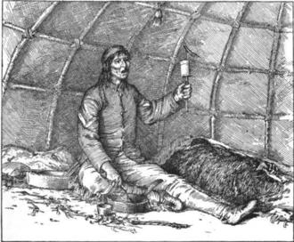 Medicine man - An Ojibwe midew (ceremonial leader) in a mide-wiigiwaam (medicine lodge).