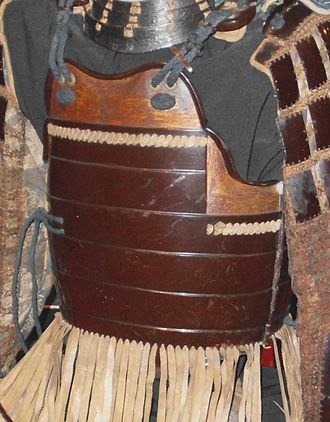 Laminar armour - Okegawa dō constructed with horizontal rows (bands) of iron plates riveted together with no lacing being used at all, this type of armour was the beginning of plate armour development in Japanese armour.