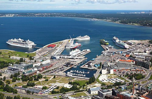 The port of Tallinn is one of the busiest cruise and passenger harbours in Northern Europe with over 10 million people passing through in 2016. Old City Harbour, Tallinn.jpg