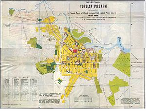 Ryazan - Old map of Ryazan (1909)