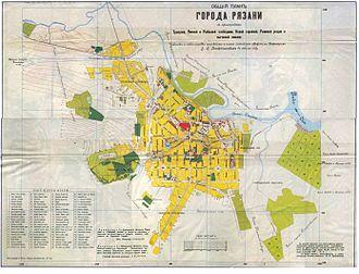 Ryazan - Old map of Ryazan (1909)