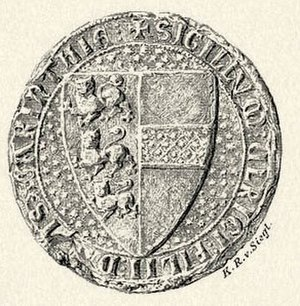 Ulrich III, Duke of Carinthia - Later version Ulrich's seal, with Carinthian coat of arms