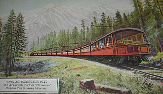 Olympian Hiawatha - Open air observation car used during the summer months, circa 1915.