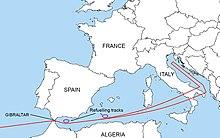 Diagrama de la ruta que tomarían los B-52 con bombas nucleares hacia los países enemigos.  Sigue el mar Mediterráneo y pasa sobre Italia antes de girar hacia el norte sobre el mar Adriático.