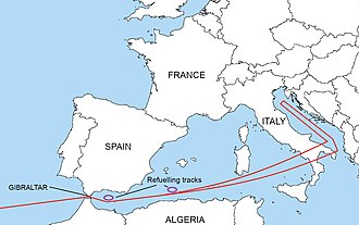 1966 Palomares B-52 crash - Operation Chrome Dome flight route over southern Europe, showing refuelling tracks