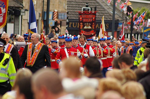 Orangemen parading in Larkhall, Scotland (July 2008) Orange Parade in Larkhall, Scotland.jpg