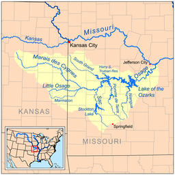 Map of the Osage River watershed including the Marais des Cygnes River