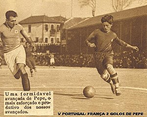 Pepe Soares - Pépe Soares - international debut for Portugal against France, Lisbon, 16 March 1927