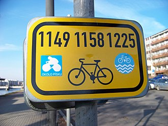 Concurrency (road) - Concurrency of several cycling routes in Písek, Czech Republic