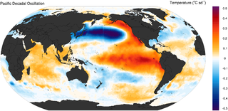 Pacific decadal oscillation A robust, recurring pattern of ocean-atmosphere climate variability centered over the mid-latitude Pacific basin