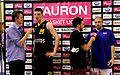 PLK Adam Waczyński Trefl Sopot i Piotr Kardaś Rosa Radom podczas wywiadów Tauron Basket Liga.jpg