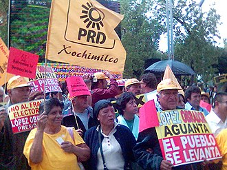 Party of the Democratic Revolution - PRD activists at rally