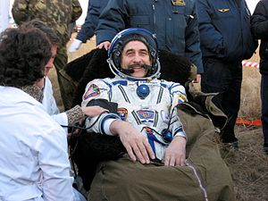 Pavel Vinogradov - Pavel Vinogradov chats with the recovery team shortly after the landing in the Soyuz TMA-8 spacecraft.