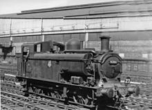 A pannier tank locomotive adapted for underground working. The pannier tank shown is shorter than usual, starting behind the smokebox and after about a third of its length extends down to the footplate. At the front there is a pump and extra pipe work, which also extends above the boiler.