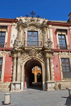 Archbishop's Palace, Seville - Detail of the façade.
