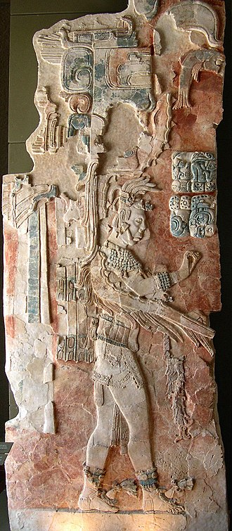 Palenque - A bas-relief in the Palenque museum that depicts Upakal K'inich, the son of K'inich Ahkal Mo' Naab III.