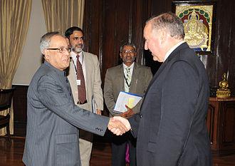 India–Panama relations - Finance Ministers Alberto Vallarino Clement and Pranab Mukherjee meeting in New Delhi in 2010.