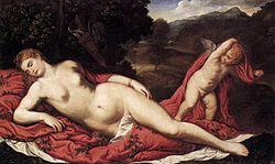 Paris Bordone: Sleeping Venus with Cupid