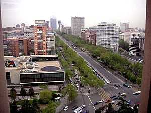 View of the Paseo de la Castellana (avenue) fr...