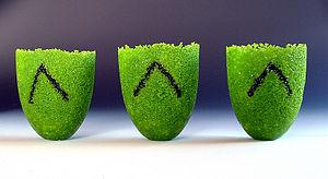 Glass casting - Three pate de verre vessels.