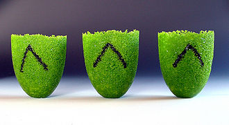 Glass casting - Three pate de verre vessels.
