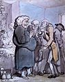 Patients consulting an obese quack. Watercolour painting by Wellcome L0016955.jpg