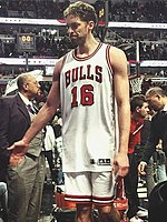 Paul Gasol high five with Stryde at the end of the Chicago Bulls game (cropped).jpg
