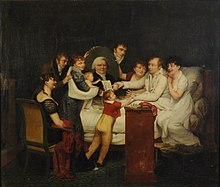 Pauline Auzou, Louis-Benoît Picard and his family, 1807, shown at the 1808 Paris Salon. Within the painting is a portrait of Pickard Elder, for which she won a medal in the 1806 Paris Salon.[1] (Source: Wikimedia)