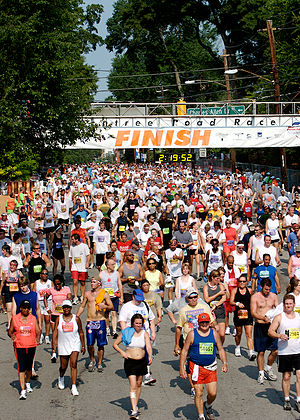 10K run - Amateur runners completing the very large 2006 Peachtree Road Race