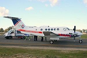 Pel-Air (VH-VAE) Beechcraft B200C King Air, under contact for Ambulance Victoria, at Wangaratta Airport.jpg