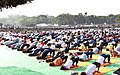 People participating in the rehearsal ahead of the Prime Minister's event on the International Day of Yoga 2018, at the Forest Research Institute, in Dehradun, Uttarakhand on June 19, 2018 (2).JPG